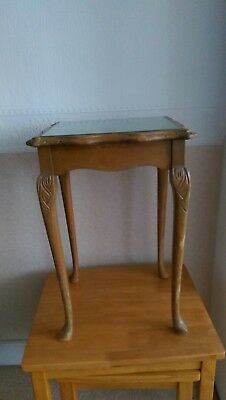 VINTAGE Queen Ann Style  GLASS  TOPPED TALL  COFFEE TABLE WOODEN