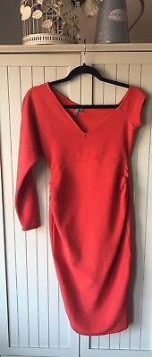 ASOS MATERNITY DRESS orange Coral NEW WITH TAGS size 8 Midi