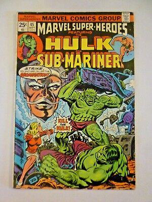 Marvel Super-Heroes 44 1974 Hulk & Sub-Mariner Bronze Age Marvel Comics