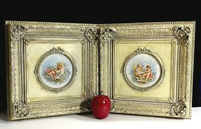 2 Antique art Limoges Hand Painted Cherubs on porcelain~wood framed~vintage