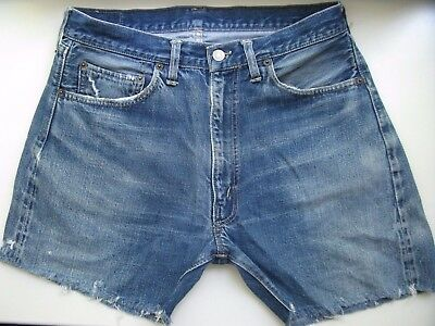 Vintage LEVIS USA Big E Blue Denim Shorts High Waisted (W32 measur.) zip SCOVILL