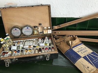 Vintage Winsor & Newton/Downey Georgian/Alexander Oil Paints Bundle Easel AB4