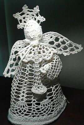 Vintage Style Handcrafted Crochet Angel Table Decor Christmas Tree Topper
