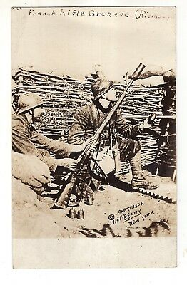 WWI RPPC French Soldiers Showing Use of Grenade Launcher with Lebel Rifle
