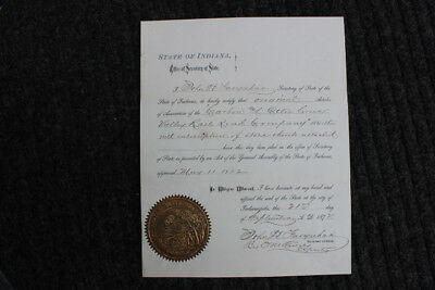 1872 Indiana State Seal - Certificate of Carbon & Otter Creek Valley RR Co.