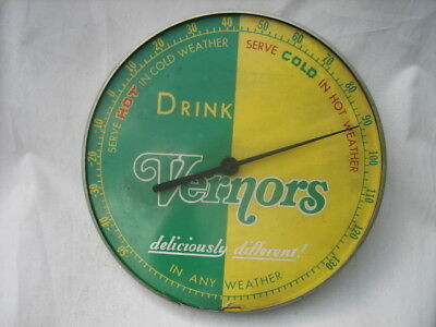 "Vintage Advertising Drink Vernor's Ginger Ale 12"" Round Metal Thermometer"