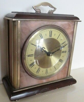 Vintage Old Mantel Clock Heavy Brass and Onyx