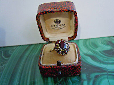 RARE imperial RUSSIAN 56 GOLD RING with Garnet stones Faberge design c.1915-17