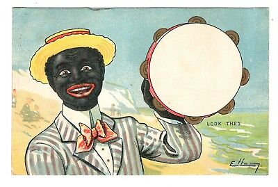 1917 Post Card Black Man at Sea Shore in Straw Hat with Tambourine Hold To Light