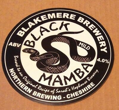 Beer pump clip badge front BLAKEMERE brewery BLACK MAMBA MILD cask ale Cheshire