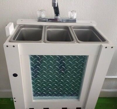 Portable  3 Compartment Table Top Sink Small 1/4 Pan Size