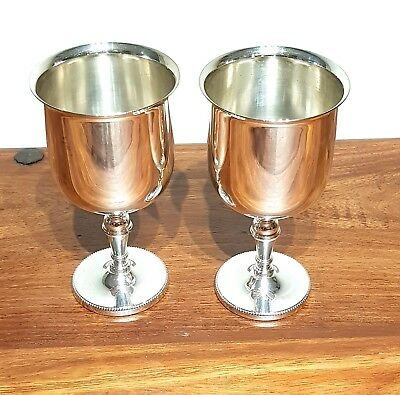 2 x VERY LARGE VINTAGE SILVER PLATED CHAMPAGNE / WINE GOBLETS CUPS CHALICES