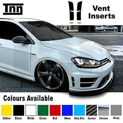 Volkswagen VW Golf R MK7 Vent Bumper Insert Indent Stickers Decals Carbon Chrome