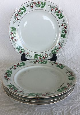 """4 Gibson Holiday Gold Trim Christmas Charm Holly Berry 7 3/4"""" Salad Plates"""