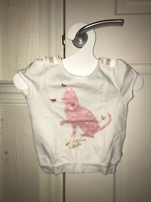 Baby Girls Ted Baker Short Sleeved Sweat Shirt  With Cat Motif 6-12 Months