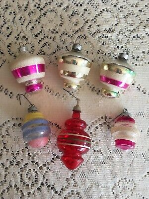 Lot of 6 vintage Mid Century Lantern UFO Christmas Ornaments Unsilvered Mica