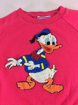 Vintage Disney Sunday Comics Girls Youth Size 6 Shirt Donald Duck Pink SS Heavy