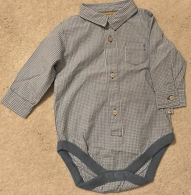 Marks & Spencer - Autograph Boys blue check Formal Shirt. Age 6-9 Months