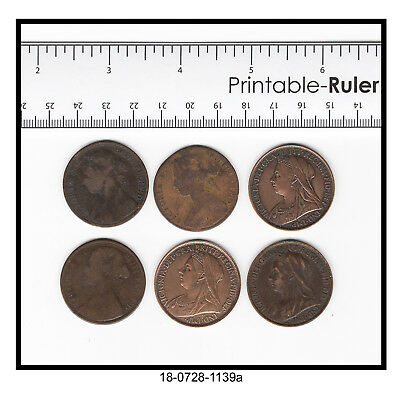 Lot of Six Great Britain Victoria Pennies