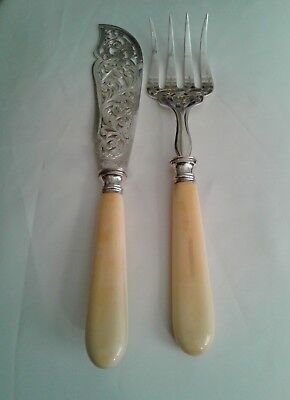 Antique ORNATE FRENCH FISH  SERVERS ~ Found In France ~ Gorgeous!