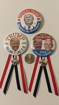 """3-pack 2.25"""" Donald Trump 2020 re-election badge button pin Campaign Political"""