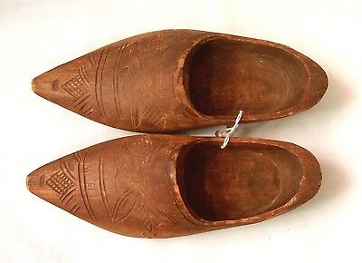 Vintage Hand Carved Wooden Shoes 7 1/2 Inches Long - Stylized Windmill Design
