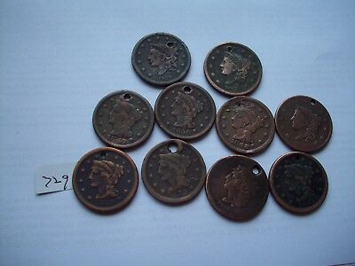 lot of ten  large cents with holes