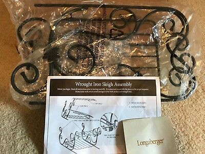 Longaberger Foundry Wrought Iron Sleigh for Baskets or Pottery NIB