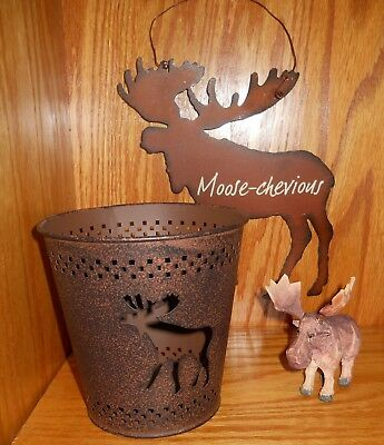 Lot of 3 Collectible Moose Tin Sign Candle Tin Carved Wooden Moose Figure