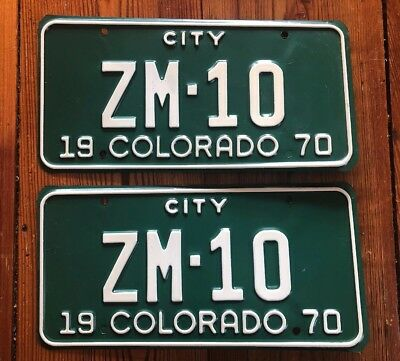1970 Colorado License Plate Number Tag PAIR MINERAL COUNTY CITY TRUCK ZM-10