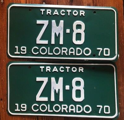 1970 Colorado License Plate Number Tag PAIR MINERAL COUNTY STATE TRACTOR ZM-8