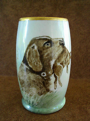 Ca 1891-1914 Jean Pouyat Limoges Tankard Dog with Lizzard Handle - Hand Painted