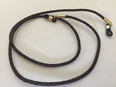 Braided Leather Eyeglass Sunglass Hanging Cord Round Brown String W/Gold Ends