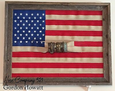 Fire Hose American Flag Original  Framed W/ Brass Coupling Fire Wall Decor