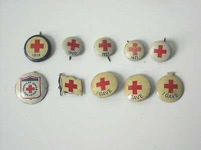 Lot of 10 Red Cross Buttons 5 Pinback & 5 Pushback 1919 - 1921 + Undated
