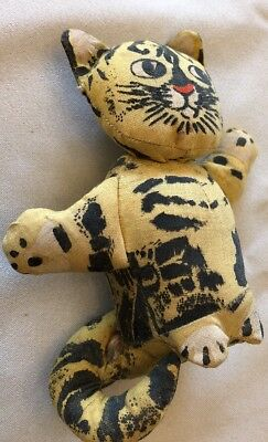 """Vintage Antique? Primitive Stuffed Toy Cat Canvas Hand Painted w Bow 4 1/4"""" tall"""