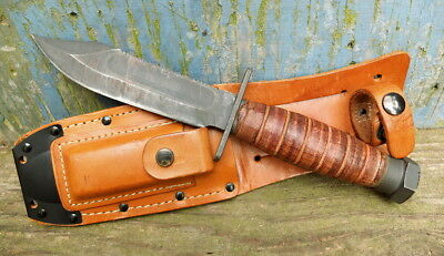 Ontario USAF Air Force Survival Knife 1989 Good Condition w/ Sheath and Stone