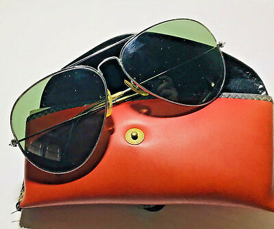 OLd 1960s Vintage B&L USA Ray Ban Sunglasses Silver Chrome Aviator Pilot