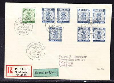 Sweden 1953 Centenary 1st Postage  REG3885 First Day Cover to  Salsburg