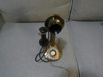 antique candlestick phone brass with dial nice