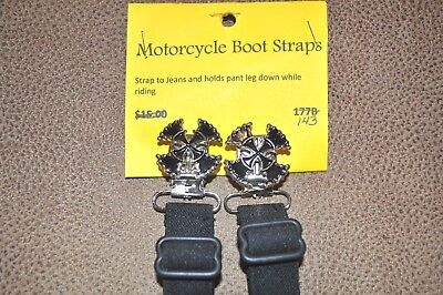 2 pair of Adjustable Elastic Motorcycle Leg Boot Straps Pant