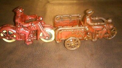"Vintage Cast Iron Hubley Motorcycle Lot ""crash car"" & ""HD"""