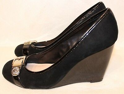b5e485a5860 VINCE CAMUTO WOMEN S Magie Black Suede Mary Jane Wedge Pump