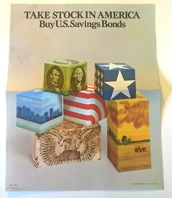 Vintage 1974 TAKE STOCK IN AMERICA BUY SAVINGS BONDS 1970s Propaganda POSTER -SM