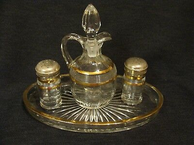 Unknown Gold Flashed Condiment Set With Tray