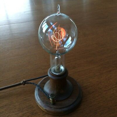 """104 Year Old Edison 35th Commemorative Light Bulb """"The THINKER-Symbol"""" WORKS!"""