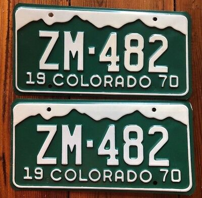 1970 Colorado License Plate Number Tag PAIR MINERAL COUNTY PASSENGER ZM-482