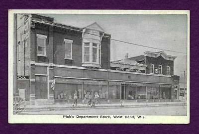 POSTCARD WEST BEND WISCONSIN PICKs DEPARTMENT STORE PICK BROS COMPANY