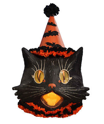 Bethany Lowe Halloween 2018 Sassy Cat Lantern Large with Light TJ4216