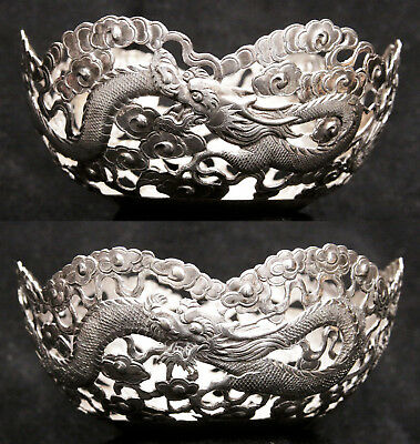 Antique Pair (2) Chinese Export Sterling Silver Bowls Pierced Dragons Hallmarked